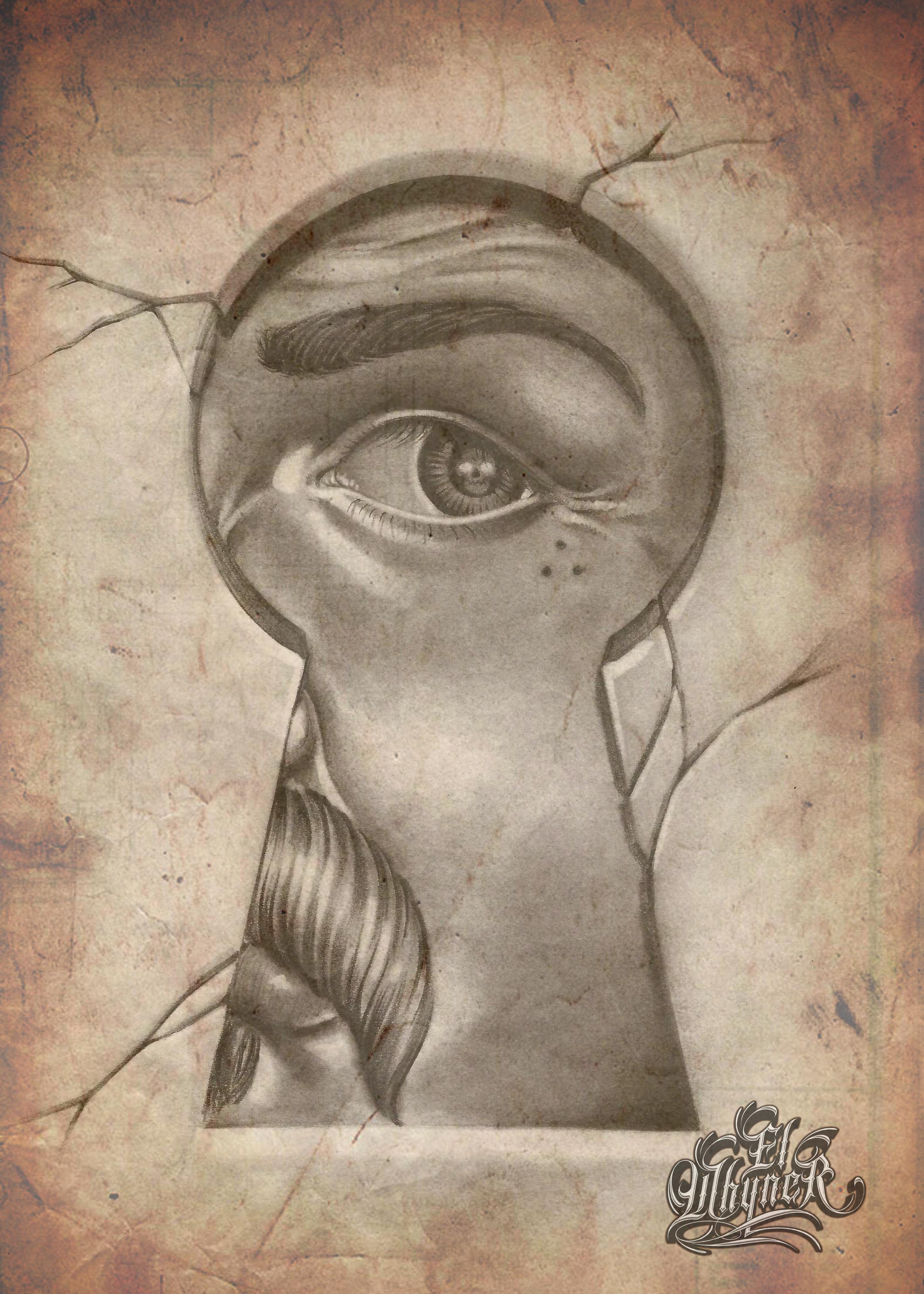 Art graphite pencil chicano flash tattoo black